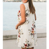 Hollow Out Floral Print Loose Short Beach Dress