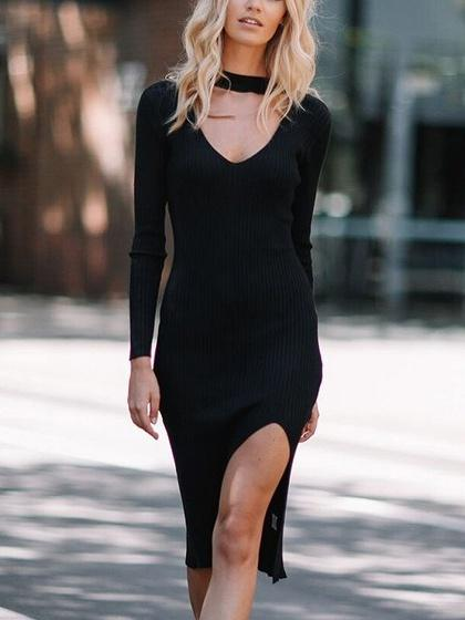 Black Choker Neck Plunge Long Sleeve Split Ribbed Dress