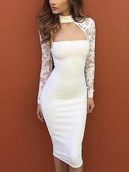 White Choker Neck Lace Panel Long Sleeve Bodycon Dress