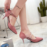 Beads Decorate Ankle Wrap Pointed Toe Stiletto High Heels