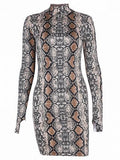 Black Stand Collar Snake Print Long Sleeve Bodycon Mini Dress