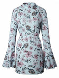 Light Blue Floral Backless Flare Sleeve Mini Dress