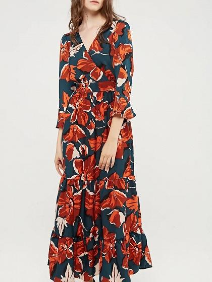 Red V-neck Tie Waist Floral Print Ruffle Hem Maxi Dress