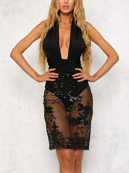 Black Multi-way Sheer Mesh Bodycon Dress