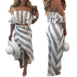 Striped Ruffles Strapless Crop Top with Skirt Two Pieces Dress Set