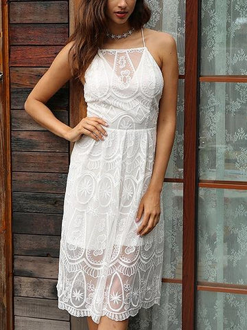 White Halter Embroidery Lace Up Back Overlay Sheer Lace Dress
