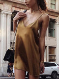 Brown Satin Look Spaghetti Strap Plunge Open Back Mini Dress