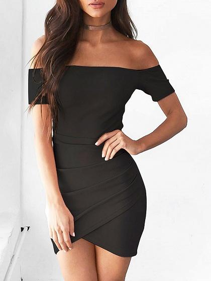 Black Off Shoulder Ruched Detail Bodycon Mini Dress
