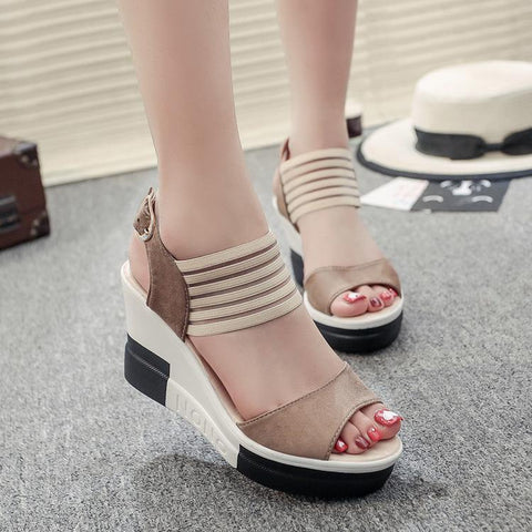 Patchwork Platform Ankle Wrap Wedge Sandals