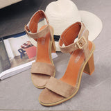 Ankle Wrap Open Toe Middle Chunky Heels Sandals