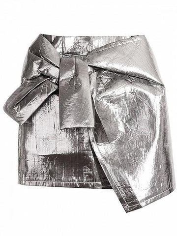 Silver Metallic Asymmetric Hem Mini Skirt