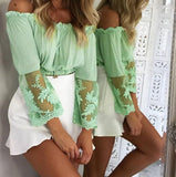 Green Sheer Lace Sleeves Bandeau Top