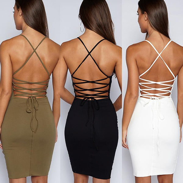 Pure Color Spaghetti Straps Sleeveless Knee-length Back Cross Dress