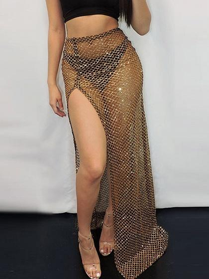 Gold High Waist Thigh Split Side Sheer Mesh Maxi Skirt