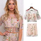 Embroidery Grenadine Crop Top with Skirt Two Pieces Dress Set