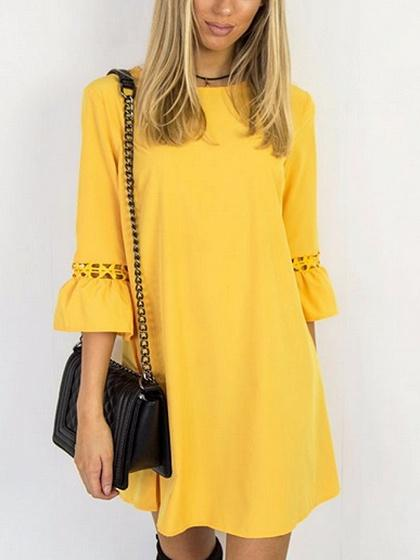 Yellow Cut Out Detail Lace Panel Mini Dress