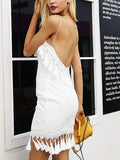 White Spaghetti Strap Sequin Detail Tassel Trim Mini Dress