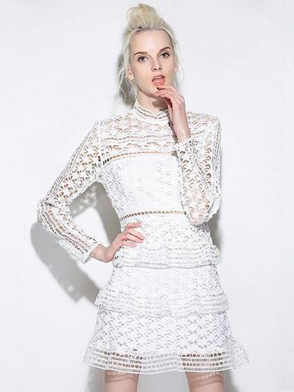 White High Neck Long Sleeve Layered Cut Out Lace Mini Dress