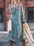 Blue V-neck Print Detail Tassel Tie Maxi Dress