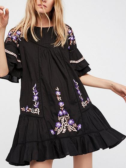 Black Flower Embroidery Detail Flare Sleeve Mini Dress