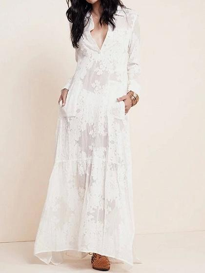 White Embroidery Detail Split Side Long Sleeve Maxi Dress
