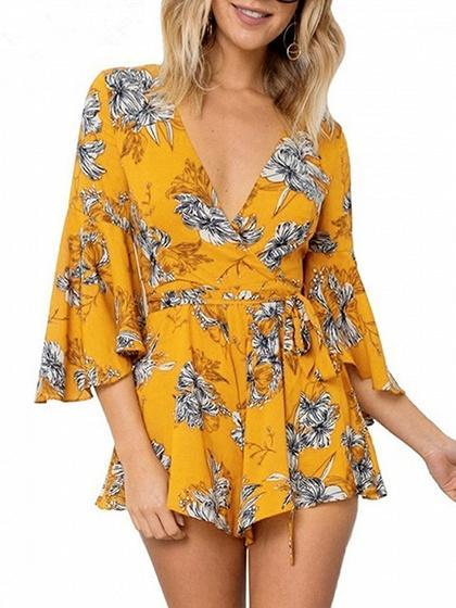 Yellow Plunge Tie Waist Print Detail Flare Sleeve Romper Playsuit