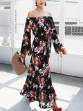 Black Off Shoulder Floral Print Long Sleeve Maxi Dress