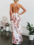 Polychrome Plunge Print Detail Thigh Split Open Back Dress