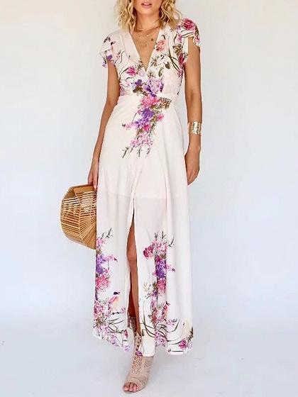 Pink Plunge Print Detail Thigh Split Maxi Dress