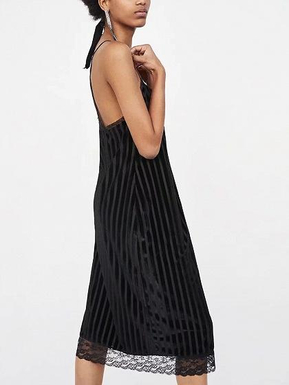 Black Velvet Spaghetti Strap Lace Panel Dress