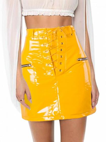 Yellow High Waist Lace Up Front Leather Look Mini Skirt
