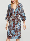 Blue Tie Waist Palm Print Kimino Dress
