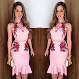 Hollow Out V-neck Flower Print Bodycon Mermaid Short Skirt Two Pieces Dress