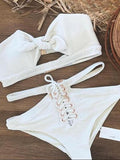 White Bandeau Bikini Top And Eyelet Lace Up Front Bottom Bikini Set