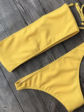 Yellow Bandeau Ribbed Bikini Top And Bottom Bikini Set