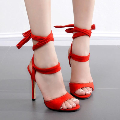 Ankle Straps Wrap Open Toe Stiletto High Heel Sandals Party Shoes