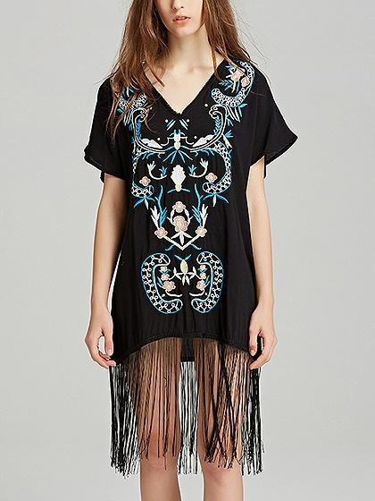 Black V-neck Embroidery Detail Tassel Trim Dress