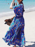 Blue Plunge Print Detail Thigh Split Side Open Back Maxi Dress