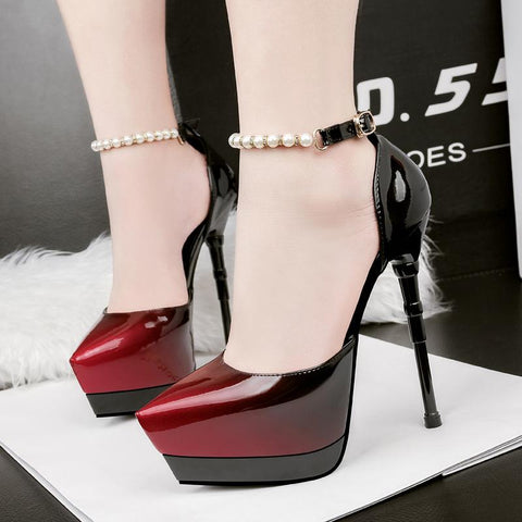 Gradient Pointed Toe Platform Ankle Wrap Beads Stiletto High Heels