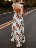 V-neck Cut Out Detail Floral Print Open Back Maxi Dress