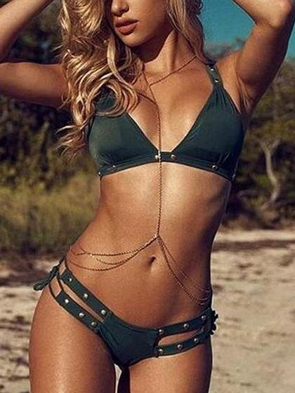 Green Bikini Top And Bottom Bikini Set