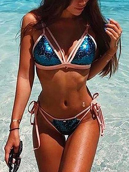 Blue Contrast Sequin Detail Bikini Top And Bottom Bikini Set