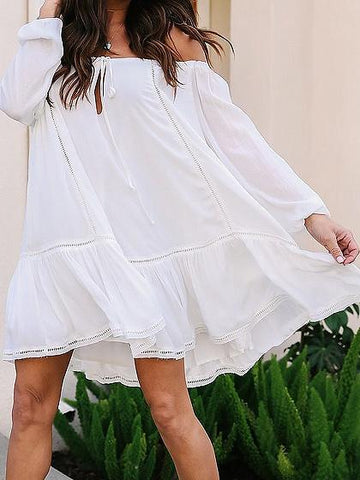 White Off Shoulder Long Sleeve Mini Dress