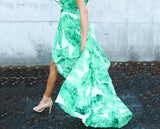Green Sleeveless Ruffle Leaf Irregular Maxi Dress
