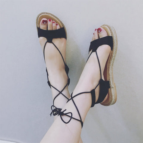 Ankle Lace Up Open Toe Flat Beach Sandals