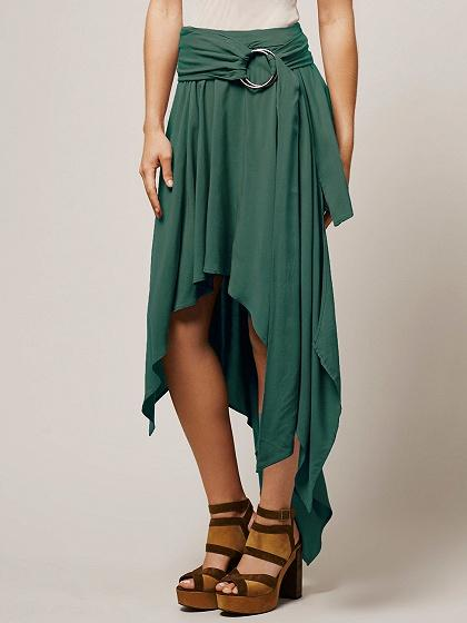 Green High Waist Ring Belt Asymmetric Hem Skirt