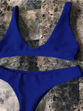Royal Blue Plunge Bikini Top And Bottom