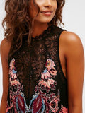 Black Lace Panel Floral Print Mini Dress