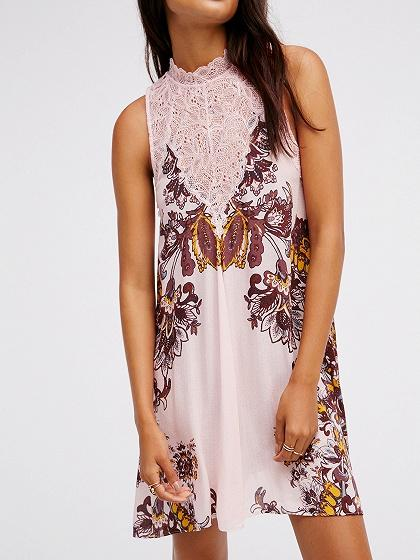 Pink Lace Panel Floral Print Mini Dress