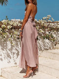 Pink Spaghetti Strap Tie Waist Open Back Maxi Dress
